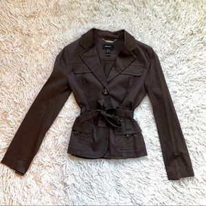 MNG Suit by Mango Brown Tie Blazer Jacket